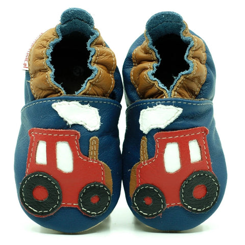 Babbucce Soft Sole Tractor On Navy Blue | FIORINO | RocketBaby.it