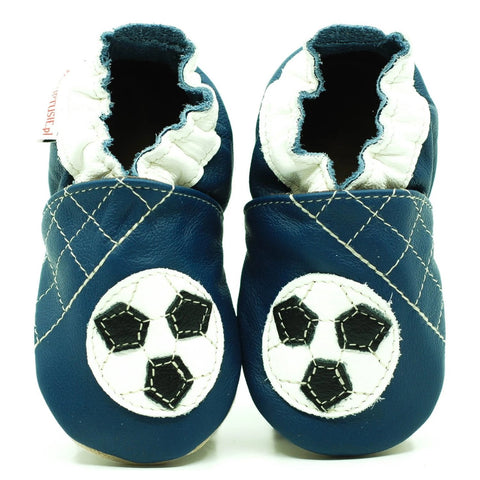 Babbucce Soft Sole Football Ball On Navy Blue | FIORINO | RocketBaby.it