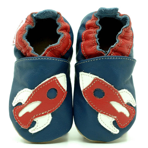 Babbucce Soft Sole Red Rocket On Navy Blue | FIORINO | RocketBaby.it
