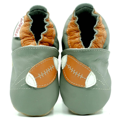 Babbucce Soft Sole Rugby Ball On Grey | FIORINO | RocketBaby.it