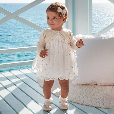 Vestito in Tulle con Ricamo Bianco | MAYORAL | RocketBaby.it
