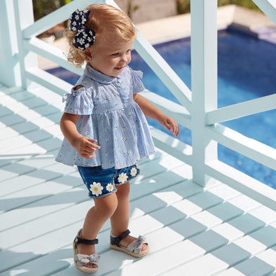 Pantaloni Shorts in Jeans con Fiori | MAYORAL | RocketBaby.it