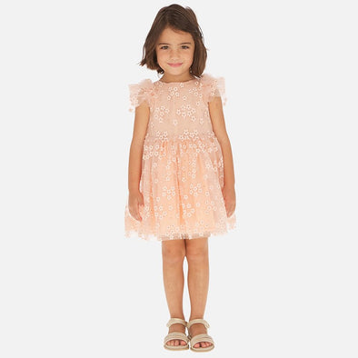 Vestito in Tulle con Glitter Pesca | MAYORAL | RocketBaby.it