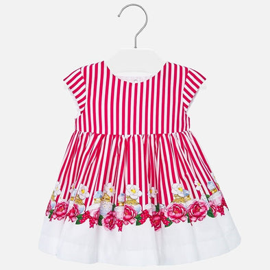 Vestito a Righe con Fiori Fragola | MAYORAL | RocketBaby.it
