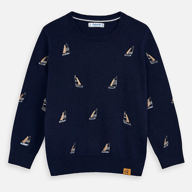 Maglione con Ricami Blu Navy | MAYORAL | RocketBaby.it