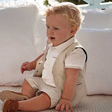 Gilet in Lino Elegante Beige | MAYORAL | RocketBaby.it