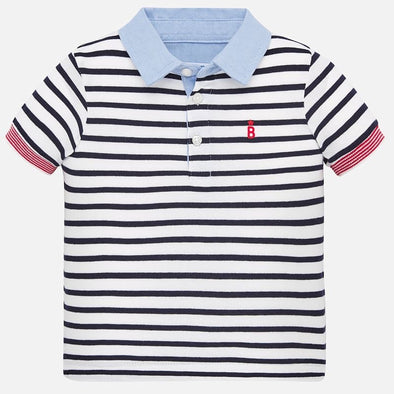 Polo a Maniche Corte con Righe Blu Navy | MAYORAL | RocketBaby.it