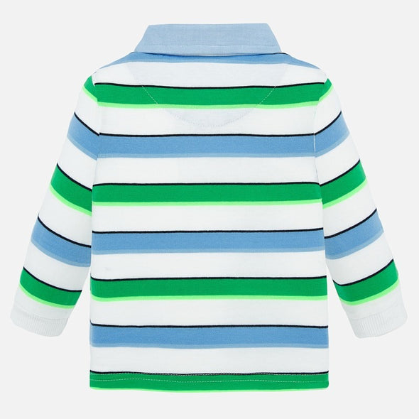 Polo a Maniche Lunghe con Righe Menta | MAYORAL | RocketBaby.it