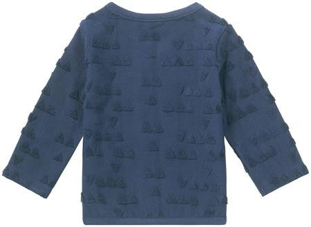 Cardigan Blu Scuro con Disegni in Rilievo Baby