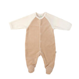 Tuta Intera con Piedi Ecru e Marrone | WOOLY ORGANIC | RocketBaby.it