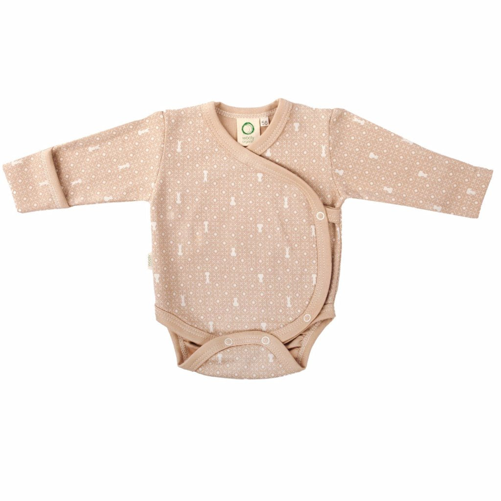 Body a Manica Lunga Marrone con Stampa Ecru | WOOLY ORGANIC | RocketBaby.it
