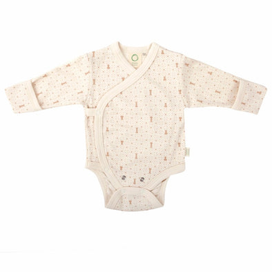 Body a Manica Lunga Ecru con Stampa Marrone | WOOLY ORGANIC | RocketBaby.it