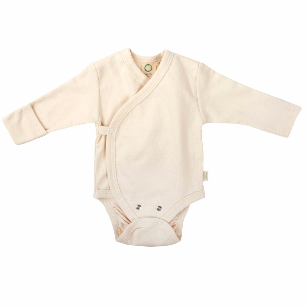 Body a Manica Lunga Ecru | WOOLY ORGANIC | RocketBaby.it