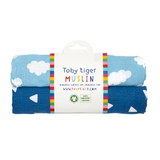 Set 2 Swaddle in Mussola Nuvole Blu | TOBY TIGER | RocketBaby.it
