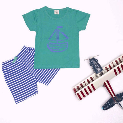 Set 2 Pezzi Maglietta e Pantaloni Barchetta Verde e Blu | MIAMI KIDS | RocketBaby.it