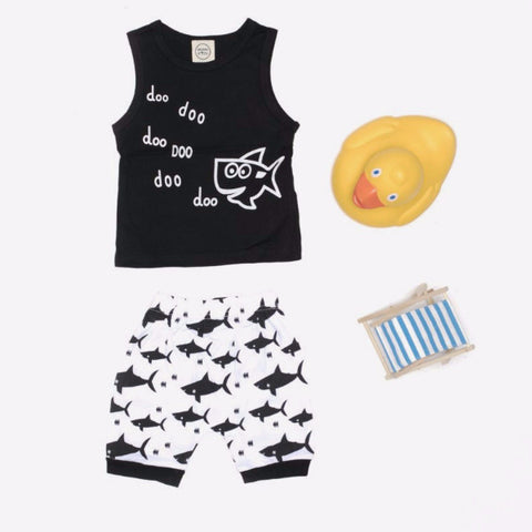 Set 2 Pezzi Canottiera e Pantaloni Squali | MIAMI KIDS | RocketBaby.it