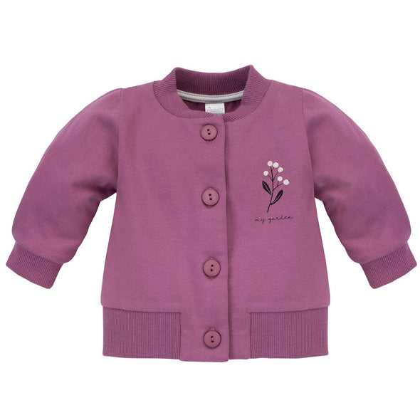 Cardigan con Bottoni My Garden Darkpink