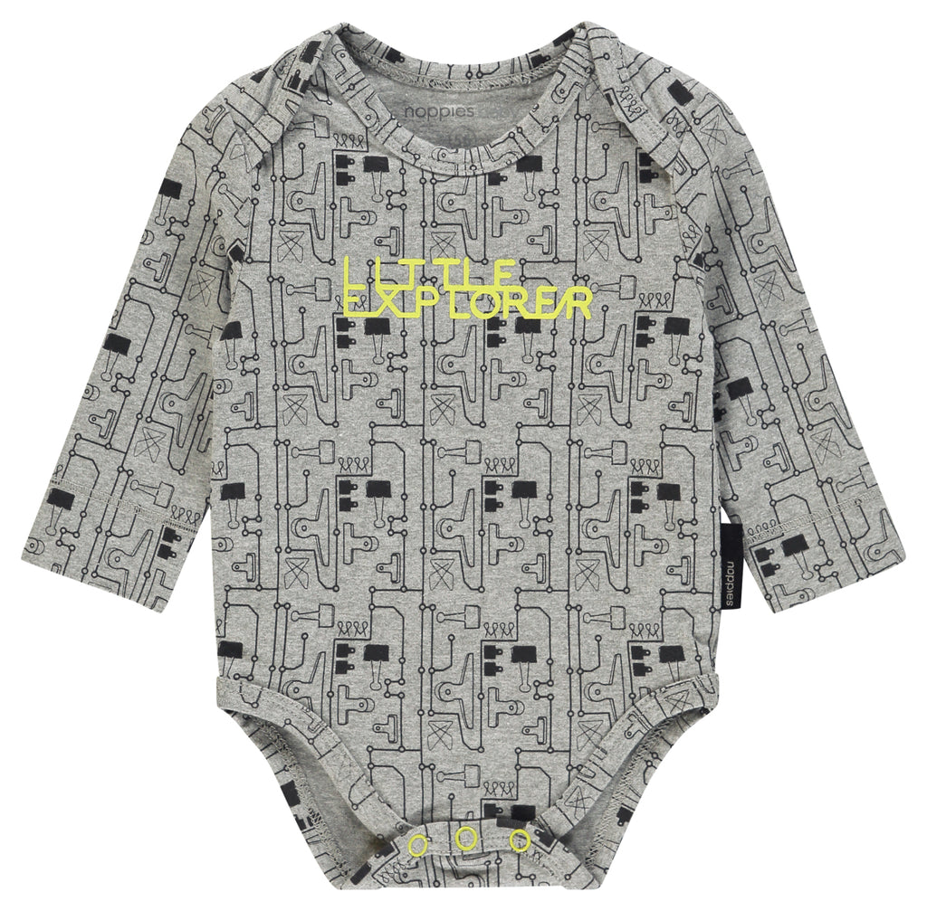 Body Maniche Lunghe Walnut Grey Melange | NOPPIES | RocketBaby.it