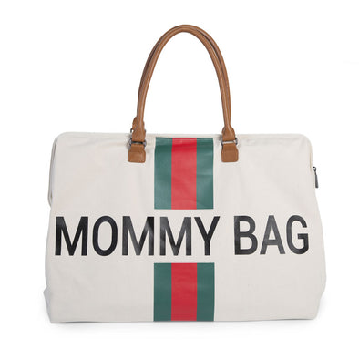 Borsa Fasciatoio Mommy Bag Big Canvas Off White Stripes Green/Red | CHILDHOME | RocketBaby.it