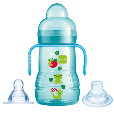 Biberon e Sippycup 2 in 1 Blue 220ml | MAM | RocketBaby.it
