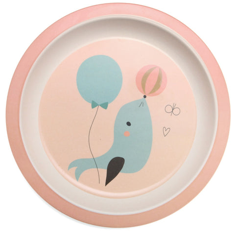 Piatto In Bamboo Foca Peach | PETIT MONKEY | RocketBaby.it