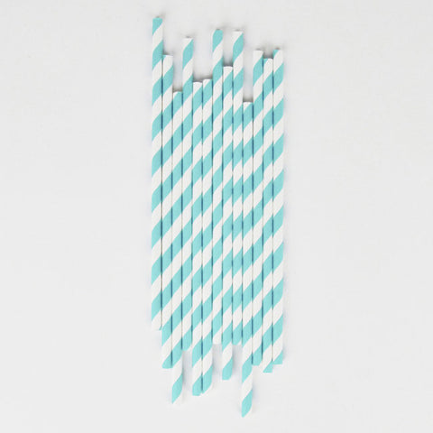 25 Cannucce In Carta Light Blue Stripes | MY LITTLE DAY | RocketBaby.it