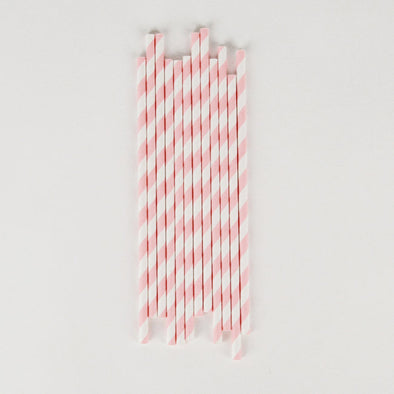 25 Cannucce In Carta Light Pink Stripes | MY LITTLE DAY | RocketBaby.it