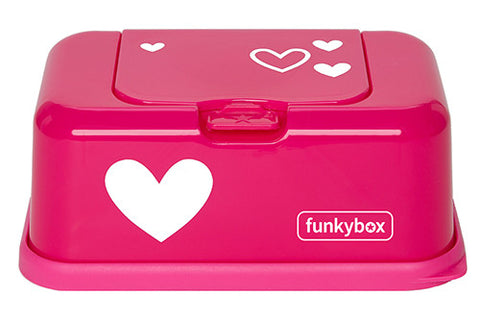 Box PortaSalviettine Umidificate Fucsia con Cuore Bianco | FUNKY BOX | RocketBaby.it
