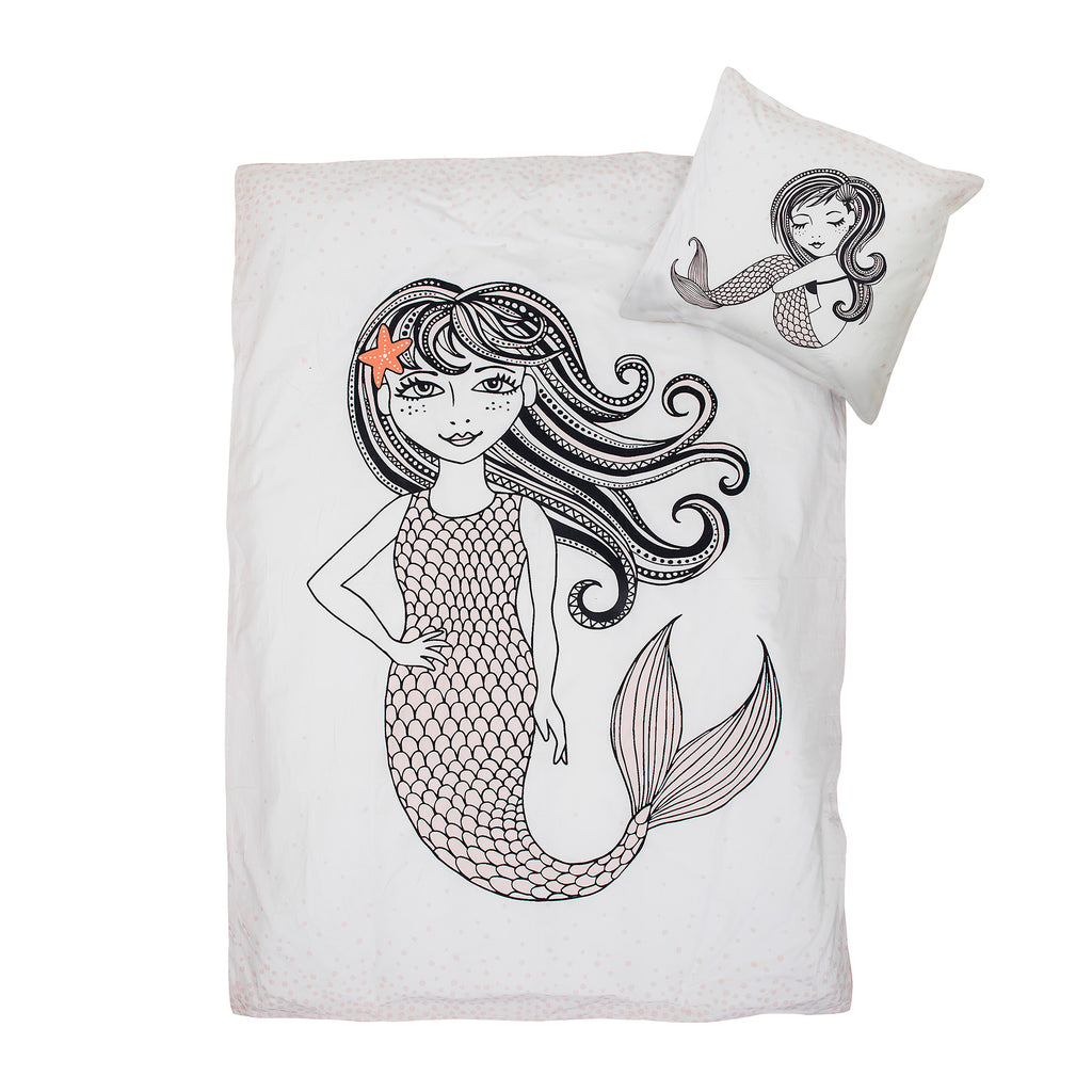 Set Copripiumone e Federa Mermaid White | BLOOMINGVILLE | RocketBaby.it