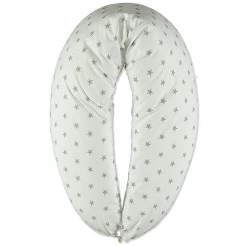 Cuscino Da Allattamento Multifunzionale Stars White Grey | HOBEA | RocketBaby.it