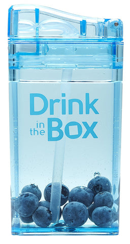 Borraccia con Cannuccia Integrata 235 ml Blu | DRINK IN THE BOX | RocketBaby.it