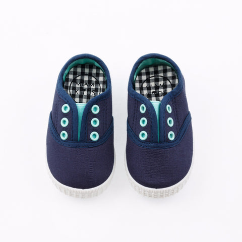 Scarpe Slip on Baby Tela Blu Navy
