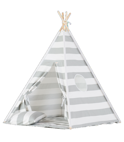 Set Tenda Teepee Grey Stripes | WIGIWAMA | RocketBaby.it