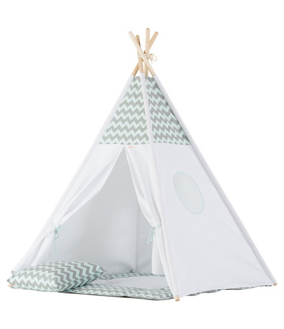 Set Tenda Teepee Grey e Mint Double Chevron | WIGIWAMA | RocketBaby.it