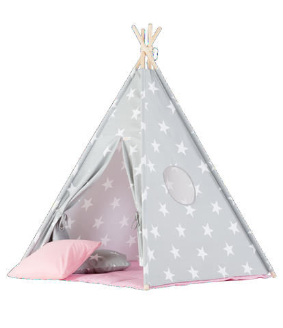 Set Tenda Teepee Big Stars e Pink Mat | WIGIWAMA | RocketBaby.it