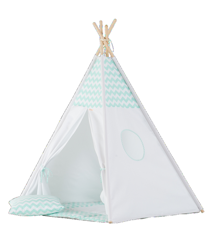 Set Tenda Teepee Mint Chevron | WIGIWAMA | RocketBaby.it