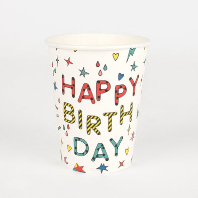 Set da 8 Bicchieri di Carta Happy Birthday