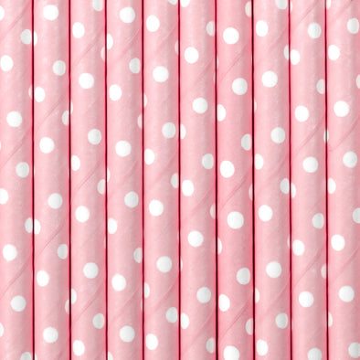 Set 10 Cannucce Dots Light Pink 19,5 cm