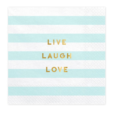 Set 20 Tovaglioli di Carta Live Laugh Love Light Blue 33x33 cm
