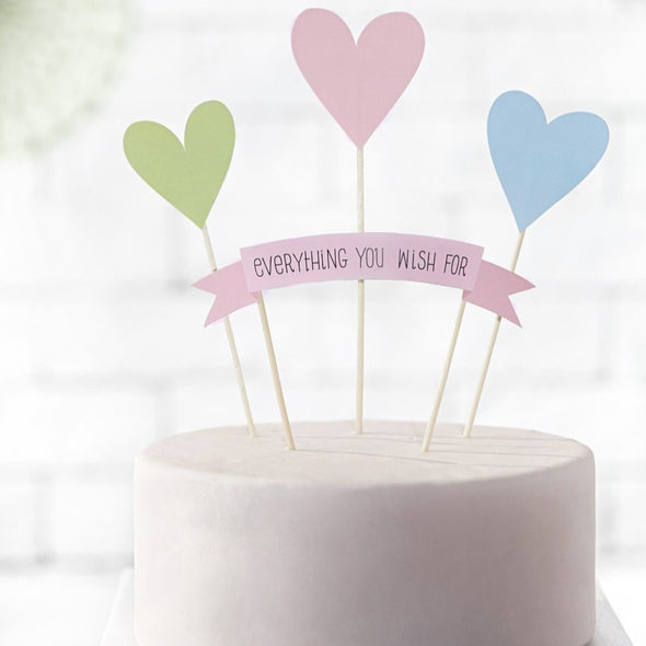 Set da 4 Decorazioni Dolci Toppers Hearts