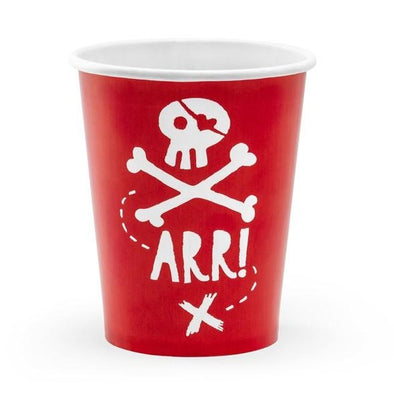 Set da 6 Bicchieri di Carta Pirates Party Red 220 ml