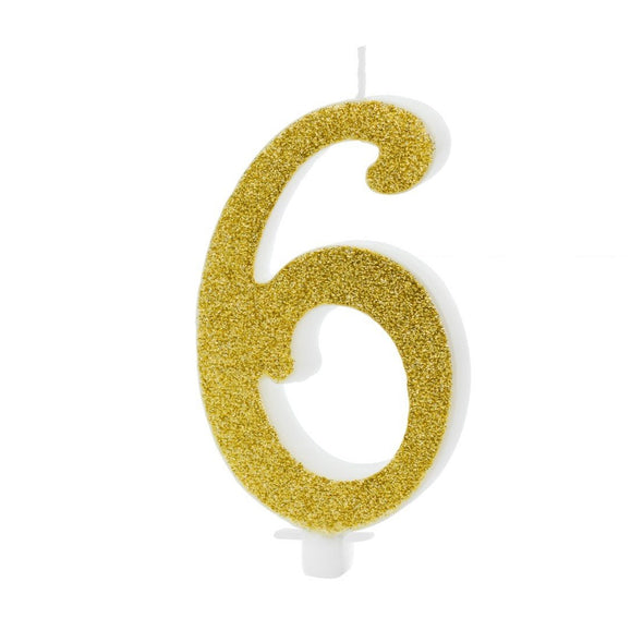 Candelina Birthday Numero 6 Gold 10 Cm