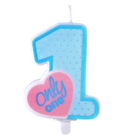 Candelina Birthday Only One Sky Blue 8 cm