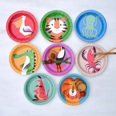 Set da 8 Piatti di Carta Coloroful Creatures