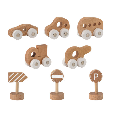 Set Veicoli in Legno Nature | BLOOMINGVILLE | RocketBaby.it