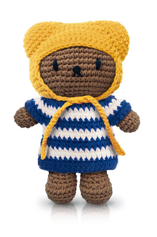 Pupazzo Boris Con Cappotto A Righe Blu E Cappello Giallo | JUST DUTCH | RocketBaby.it