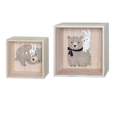 Set 2 Box Mensole Orsetto e Coniglio Nature | BLOOMINGVILLE | RocketBaby.it