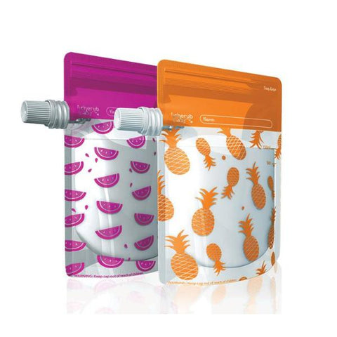 Set 10 Borracce Portapappa da Spremere Special Edition Pink Watermelon e Orange Pineapple | CHERUB BABY | RocketBaby.it