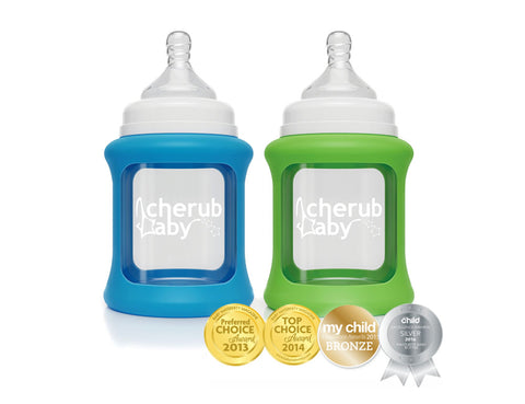 Set 2 Biberon 150 ml in Vetro con Guaina Termica Verde and  Blu | CHERUB BABY | RocketBaby.it