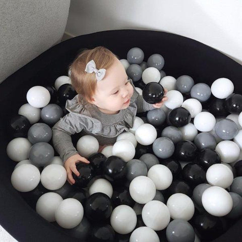 Piscina Rotonda Nera con Palline Grey Gradient | MISIOO | RocketBaby.it